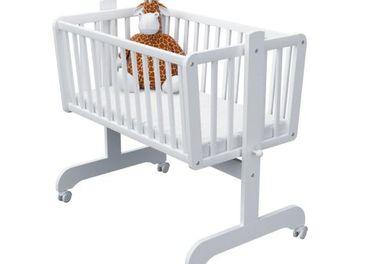 Detská buková kolíska spolu s matracom biela