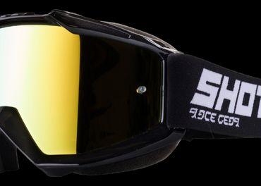 SHOT IRIS čierne MX okuliare zlate zr. sklo