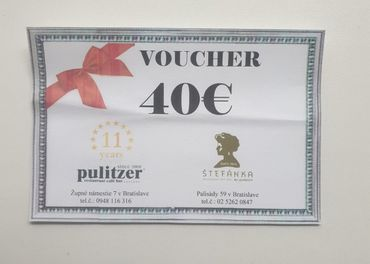 Voucher 40 eur Pulitzer Štefánka, kupón AdultStore 10%