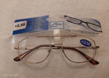 Okuliare na čítanie 2,5 diopt., kovový rám, nové