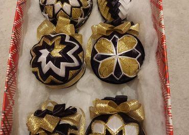 Patchwork vianočné gule
