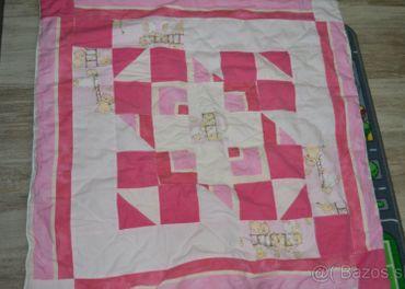 Detská ružová deka Patchwork top stav