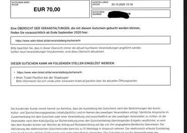Na predaj 2x 70€ poukaz WienTicket
