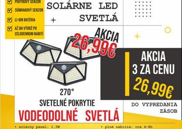 Solárne LED svietidlá - vodeodolné s pohybovým sen
