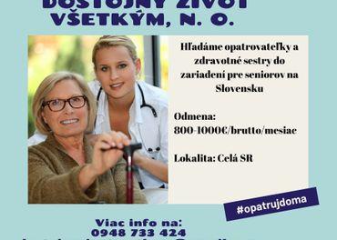 Práca pre opatrovateľky a zdravotné sestry na Slovensku