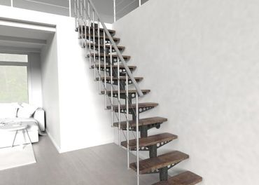 Modulové schody z bukového masívu, šírka 80 cm