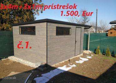 Predám záhradný domček 3x4 m + prístrešok 3x1 m