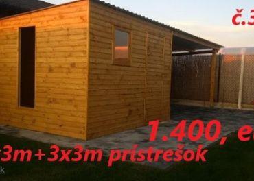 Predám Záhradný domček 3x3m+3x3m prístrešok