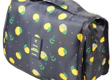 Kozmetická taška závesná čierna s citróny