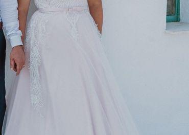 bielo ružové svadobné šaty 42-44