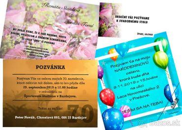 Svadobné oznámenia, pozvánky na jubileá (oslavy) a pod.