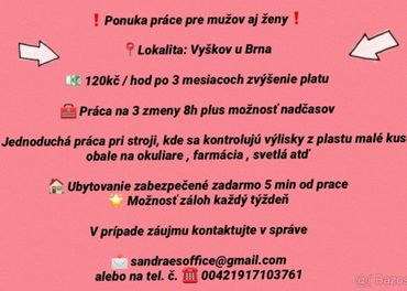 Ponuka práce Vyškov u Brna-muži aj ženy