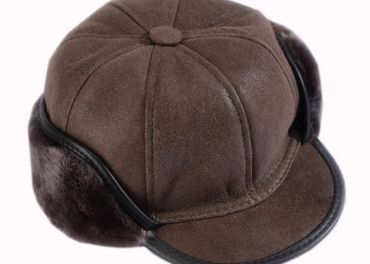 Pánska čiapka z pravej kože hnedá