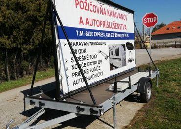 Prívesný vozík, reklamný vozík, bilboard, PRENÁJOM