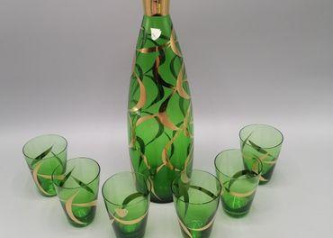 Bohemia, zelená karafa so šiestimi pohárikmi