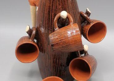 Karafka a šesť pohárikov, pozdišovská keramika