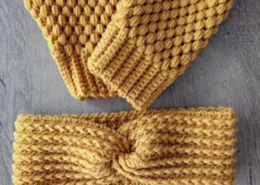 Háčkované rukavice a čelenka