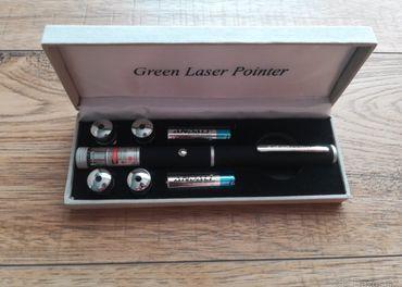 Zelené laserové ukazovátko - 5 hlavíc + baterky