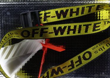 Off White industrial belt opasok žltý