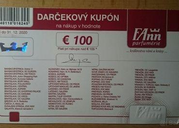 Poukážky do FAnn parfumérií (v hodnote 100€/20)