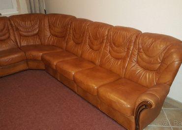 Klasická Talianska kožená rohová sedacia súprava + 1