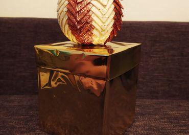 Vianočná ozdoba - guľa z patchworku
