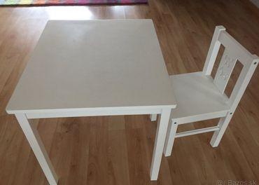 Detský stolík biely + detská stolička IKEA