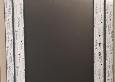 Plastové vchodové dvere 98x205, antracit/biela