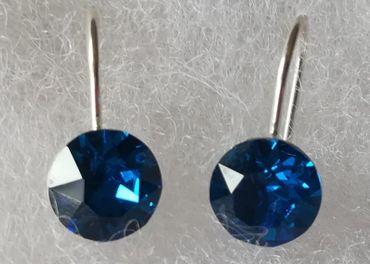 Swarovski náušnice-kruh-male-tmavo modrá farba, striebro