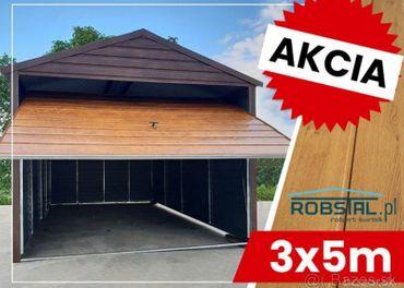 Plechová garáž 3m x 5m s montážou imitácia dreva