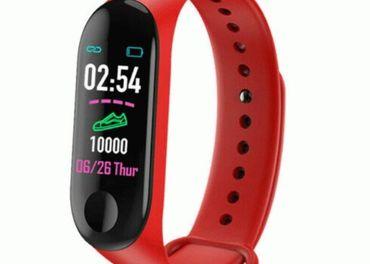 Fitness smart náramok, červený, bluetooth