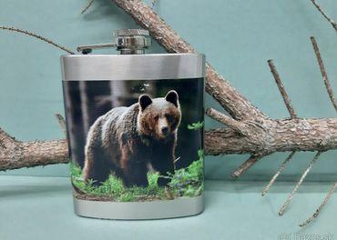 Fľaša ploskačka sada 300N medveď